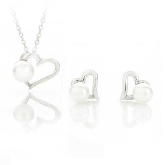 Сребърен сет Heart pearl 6/05