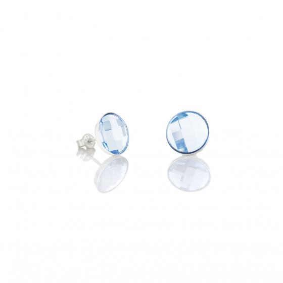 Сребърни обици на винт с кристали Brilliance