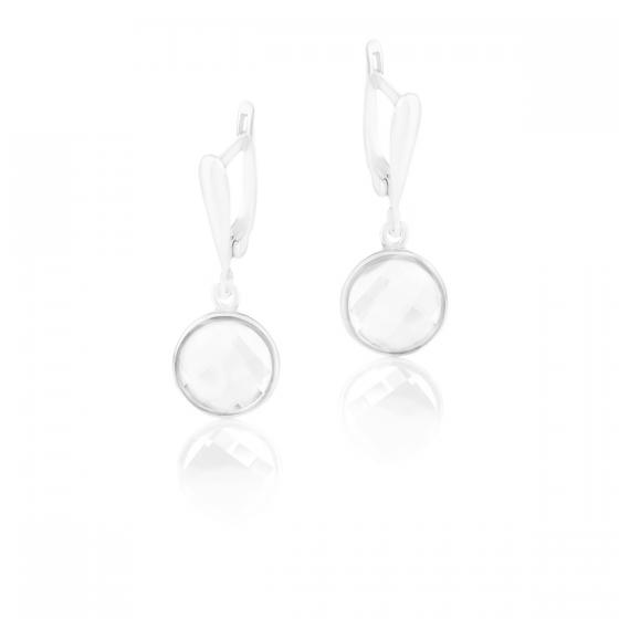 Висящи сребърни обици с кристали Brilliance