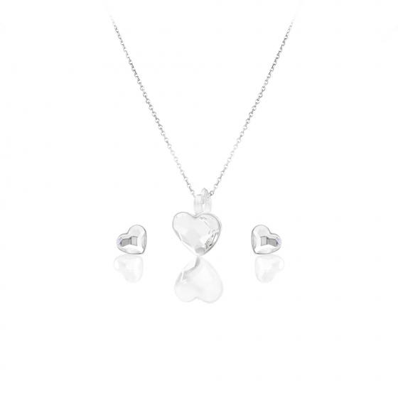 Кристален сребърен сет с обици на винт Romance